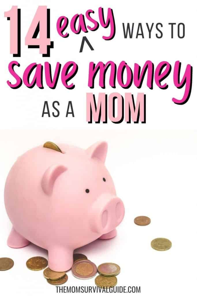 pink piggy bank with copper colored coins laying around, 14 easy ways to save money as a mom