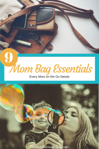 Mom Bag Essentials to help you get organized and get out the door faster.  Plus a free printable checklist so you are always prepared.  #momlife #organization #bag #purse #stayathomemom #happylife #mombag #emergency