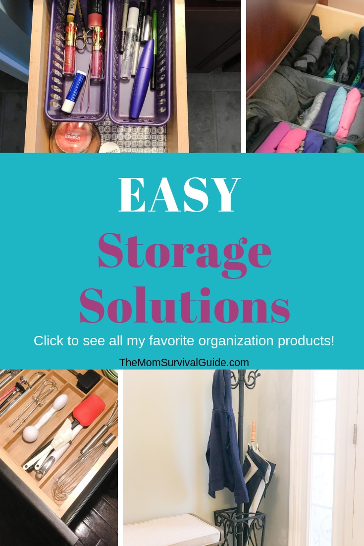 Easy storage solutions and products to help moms organized their homes.  Products I trust with pictures of how I use the products in my own home.  #orgnization #solutions #products