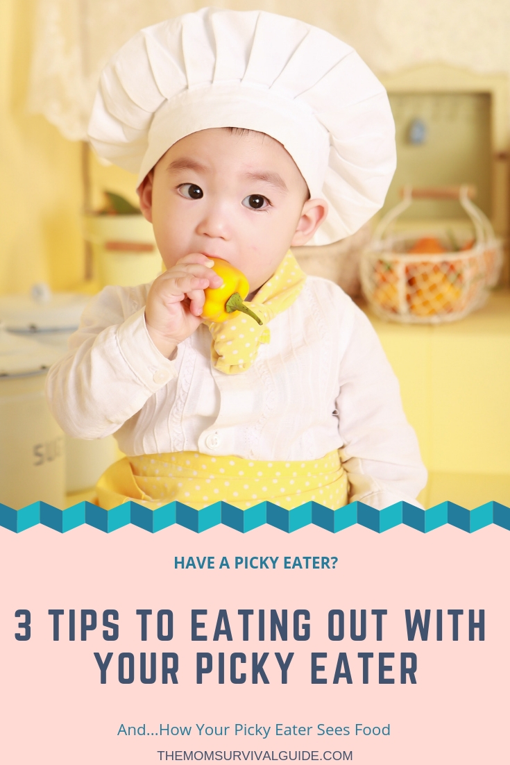 Picky eaters can be hard to eat out with!  When you go to a restaurant or someone else's house to eat, what do you do if your child won't eat anything!  Here are some tips and solutions to getting your child to eat when you are out.  #pickyeater #kids #momlife #restaurants #tips #tricks #solutions