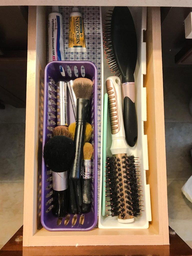 Makeup and Brush Drawers.  #storage #solution #bathroom