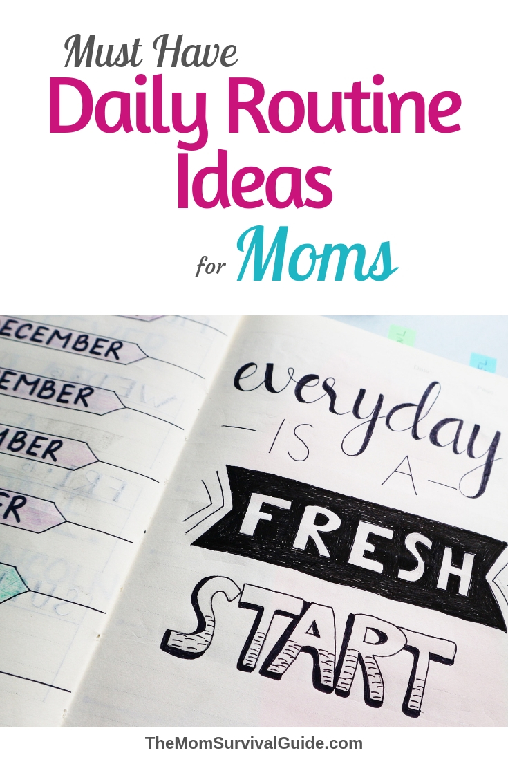 Daily Routine Ideas for moms plus a printable to help you create your own daily routines and schedules for morning, afternoon and evening.  #daily #routines #momlife