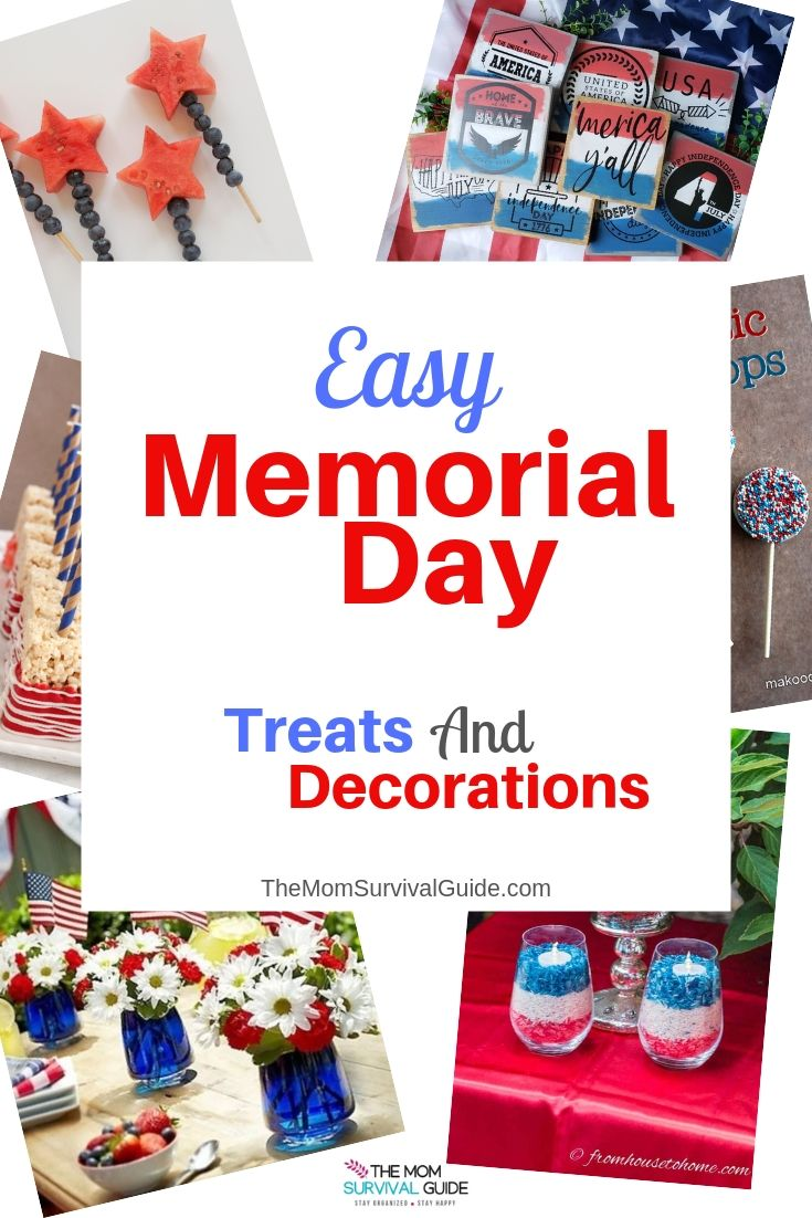 Memorial Day 2019 Easy Treats and Decoration ideas.  Make the first day of summer and remember the heroes who have fought for our country with these fun patriotic treats and simple home decor.  #Memorialday #2019 #Easy