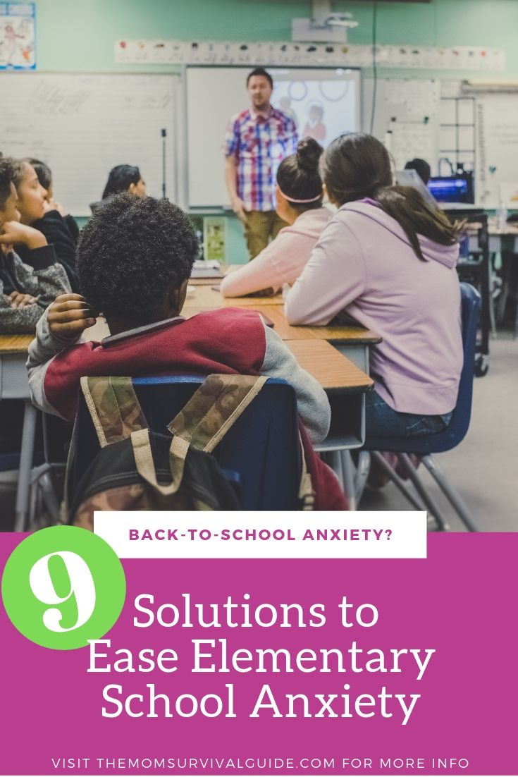 Stop Back-to-School anxiety in elementary-aged kids with these 9 helpful tips.  Click to read these 9 solutions that will work for any mom with an anxious child.  #momlife #anxiety #kids