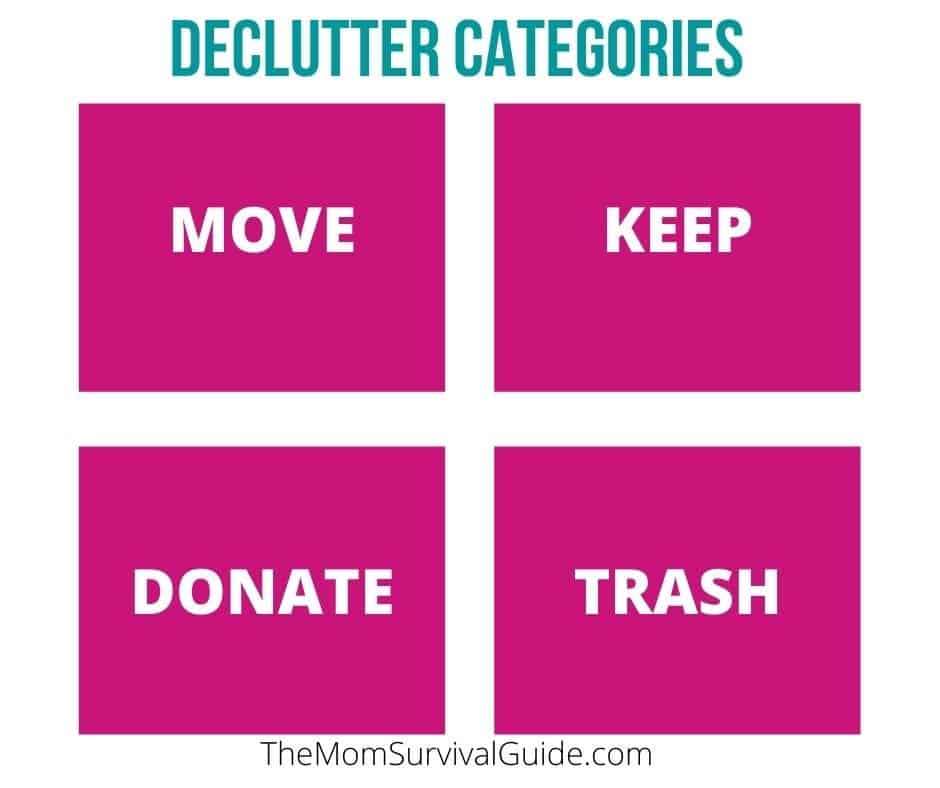 pink rectangles with words move, keep, donate, trash declutter categories for piles