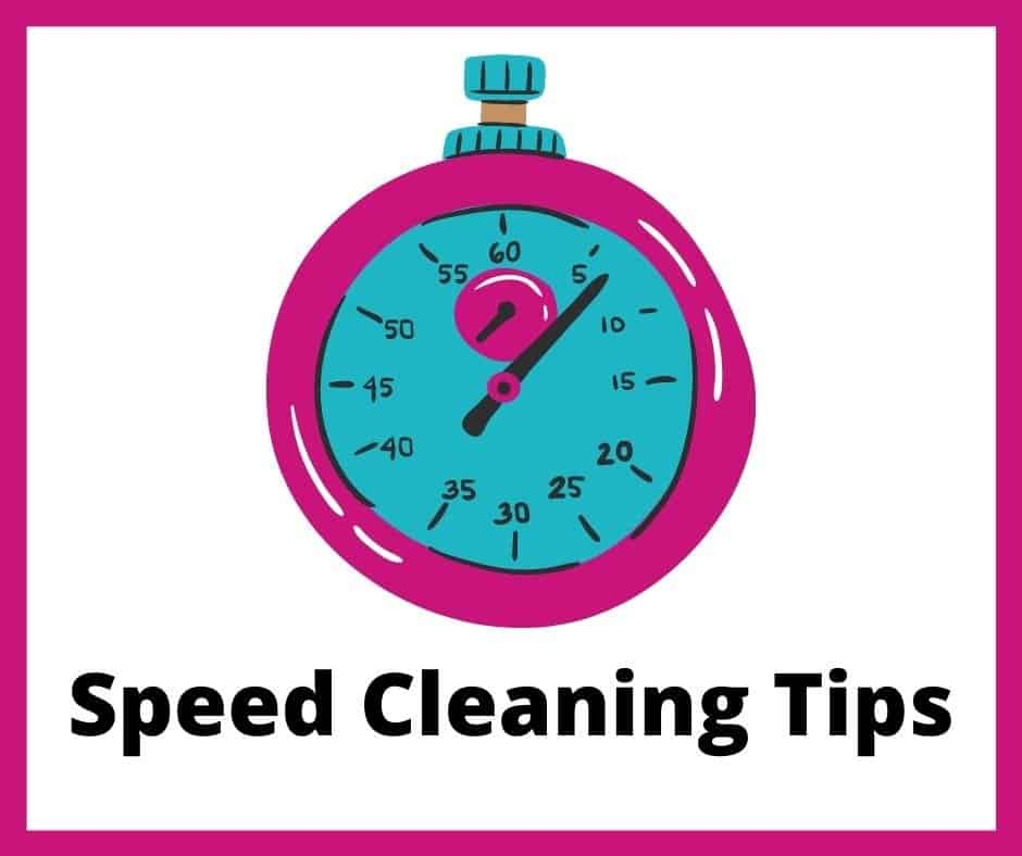 pink and teal stop watch with words speed cleaning tips