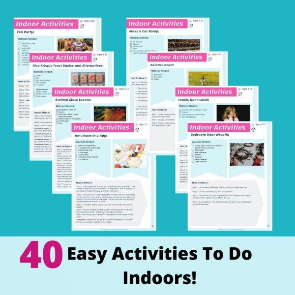 Indoor Activity Book Pages