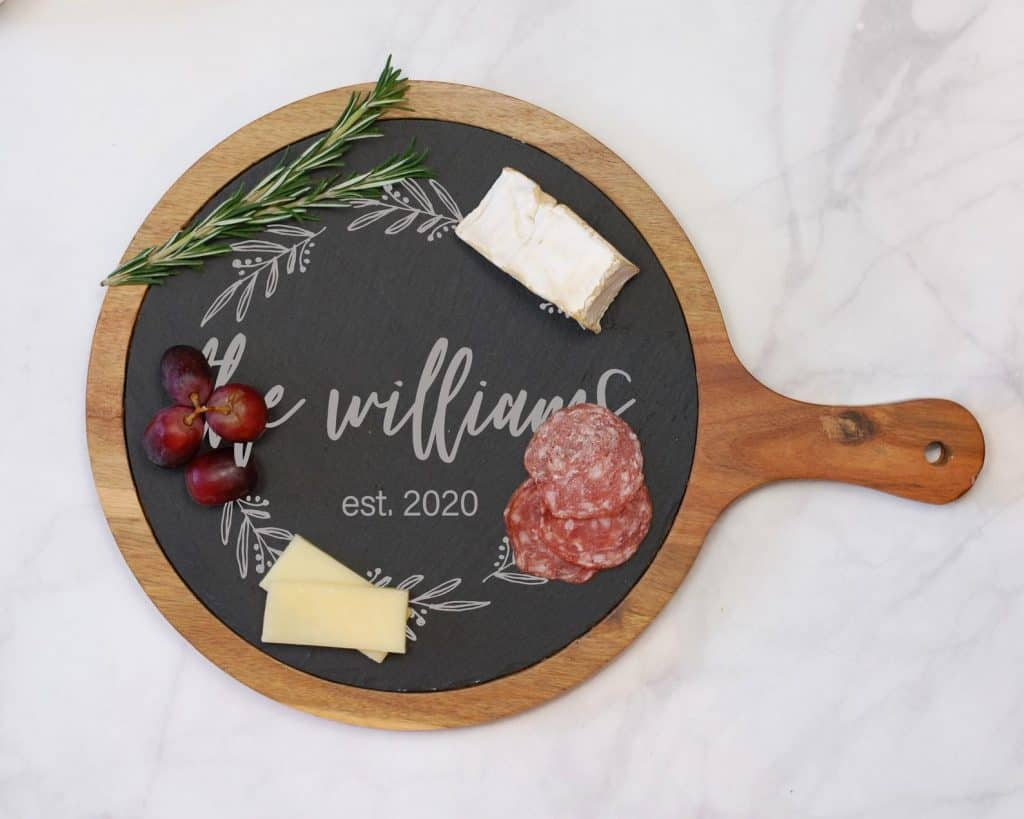 custom cheeseboard black and wood with meat and cheese