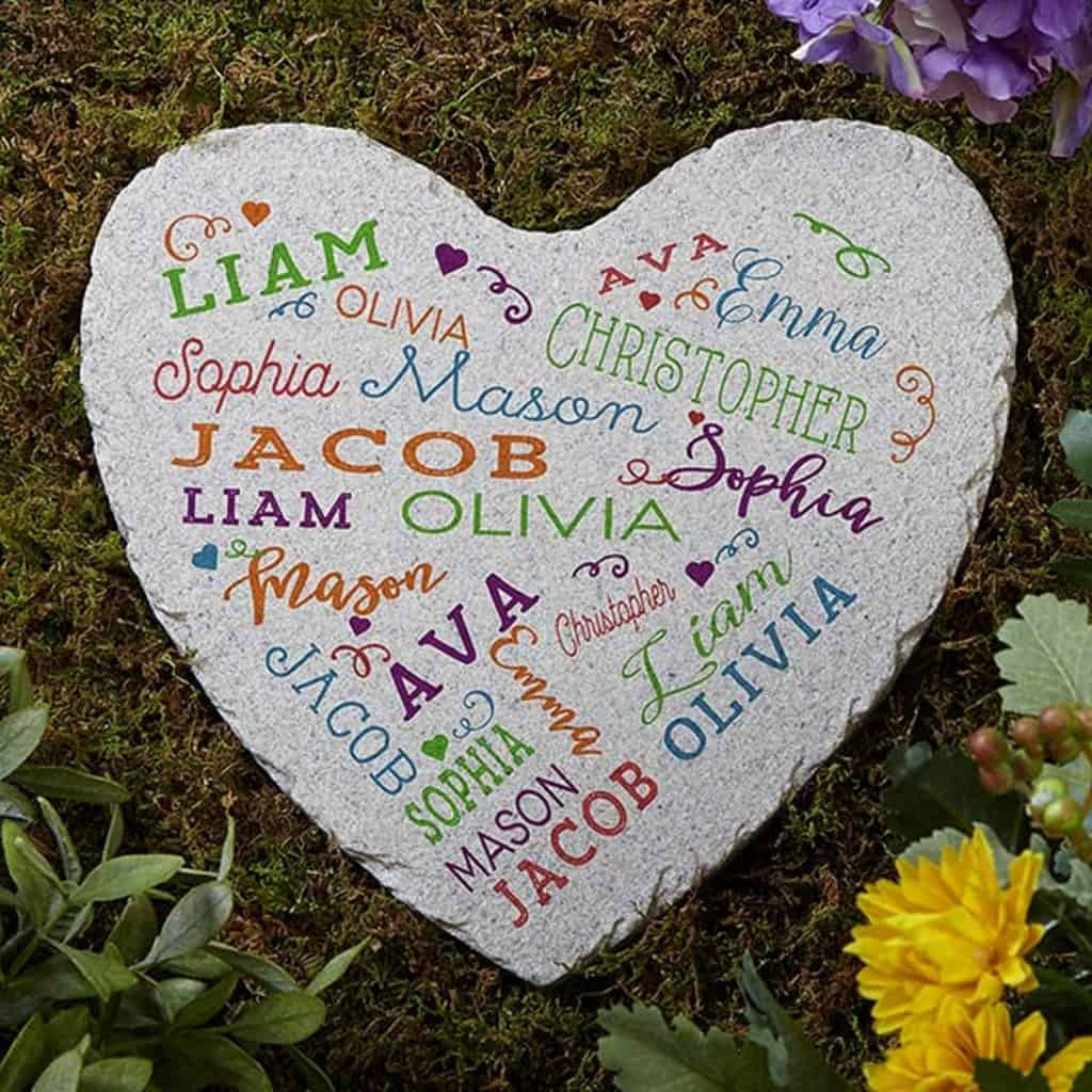 grey garden stone with colorful names