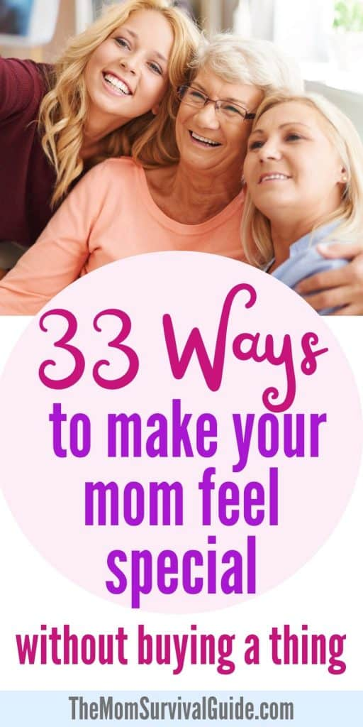 ways to make your mom feel special pin in pink and purple with mom daughter and grandma