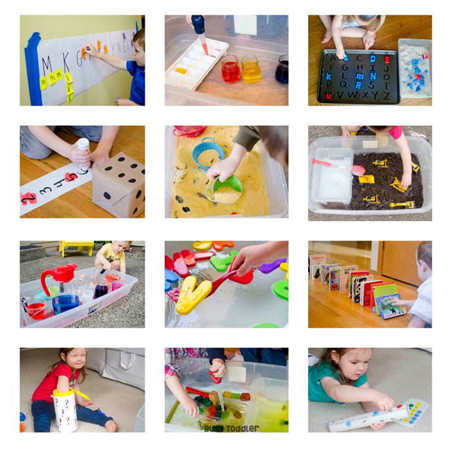12 small squares showing preschoolers doing preschool activites at home