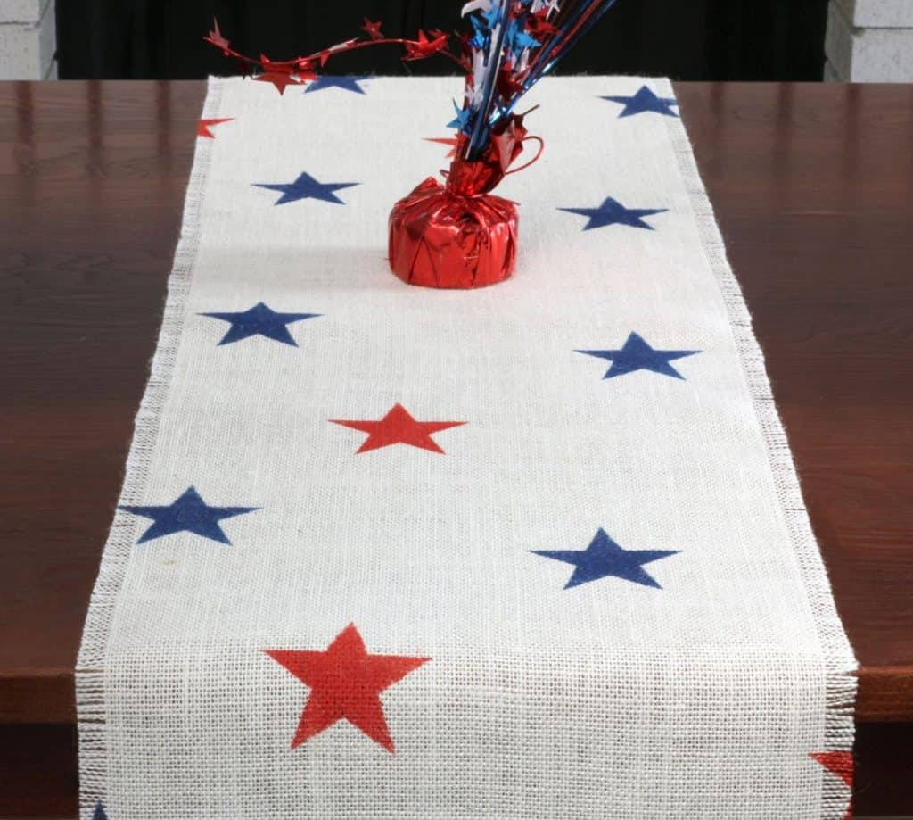 4rth of july burlap table runner with blue and red stars etsy patriotic table decoration ideas