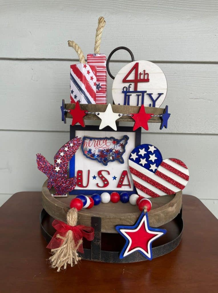 patriotic tiered tray table decorations patriotic table decoration ideas