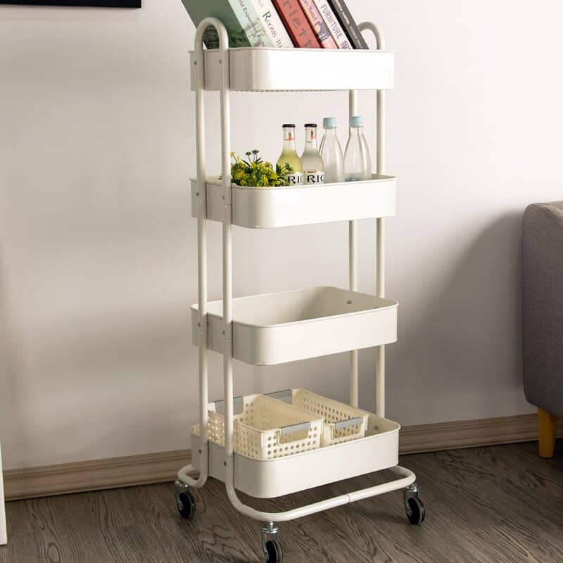 rolling cart in white