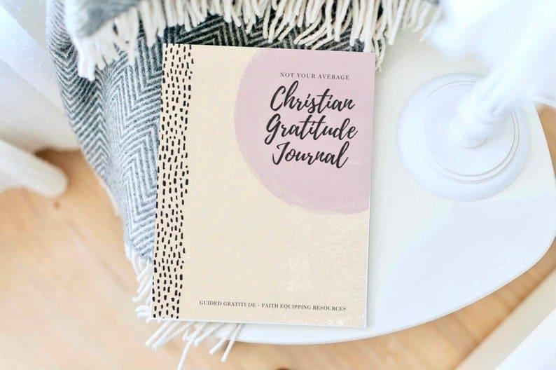 tan and pink gratitude journal