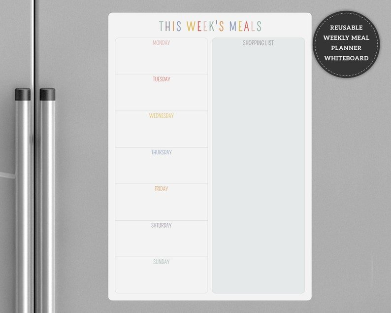 meal planner on a refrigerator