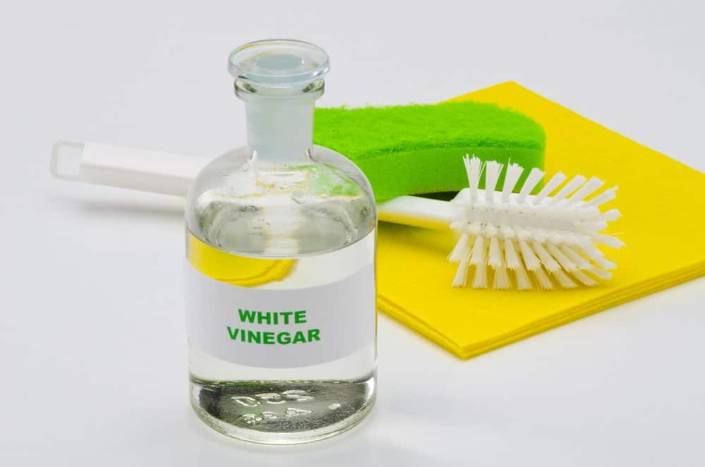 vinegar in a bottle next to a scrub brush and sponge