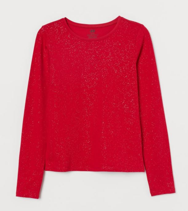 hm red sparkle top