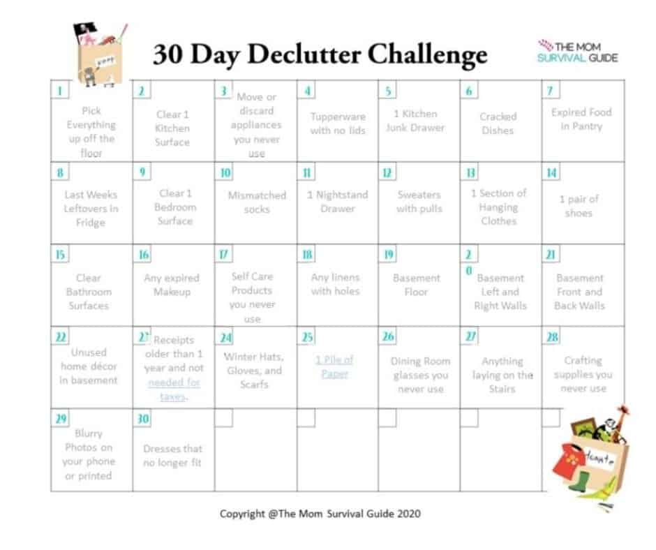 30 Day Declutter Challenge Calendar