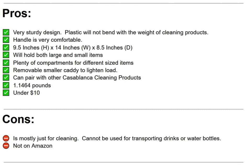 Casablanca Cleaning Caddy Pros and Cons List
