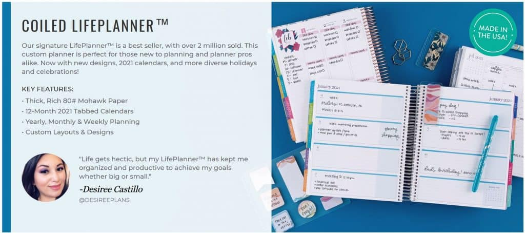 Erin Condren Life Planner Specs and Testimonial with Picture of planner