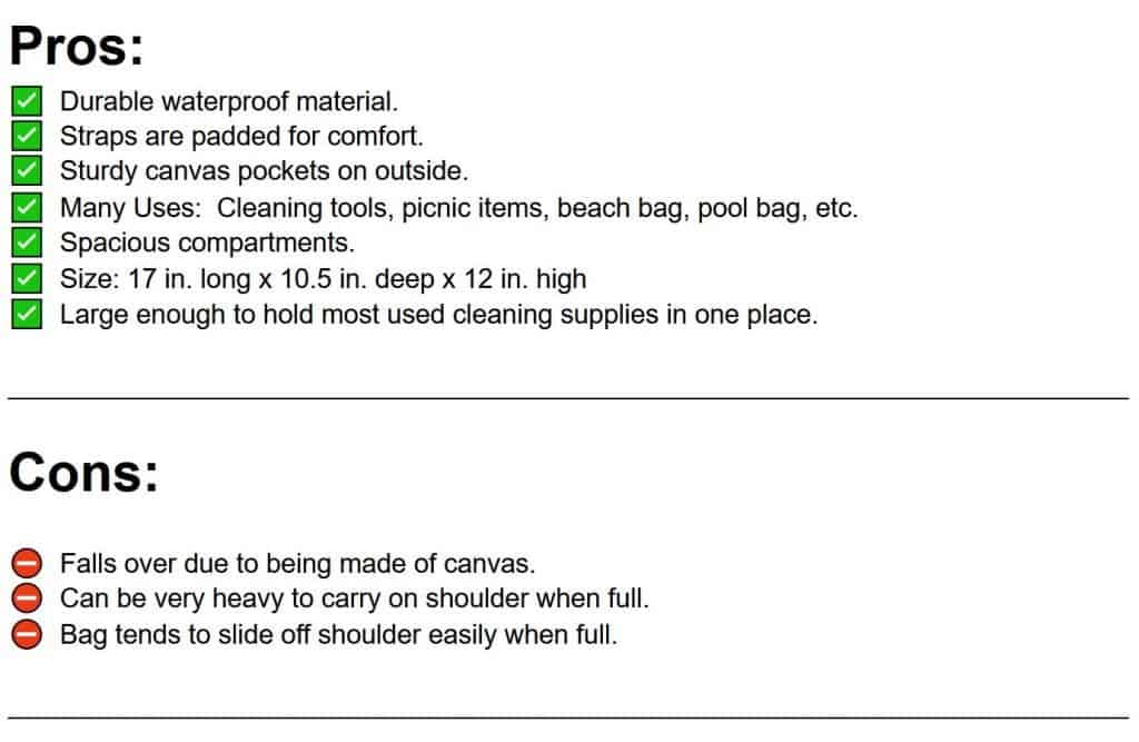 pros and cons list of canvas cleaning bag caddy