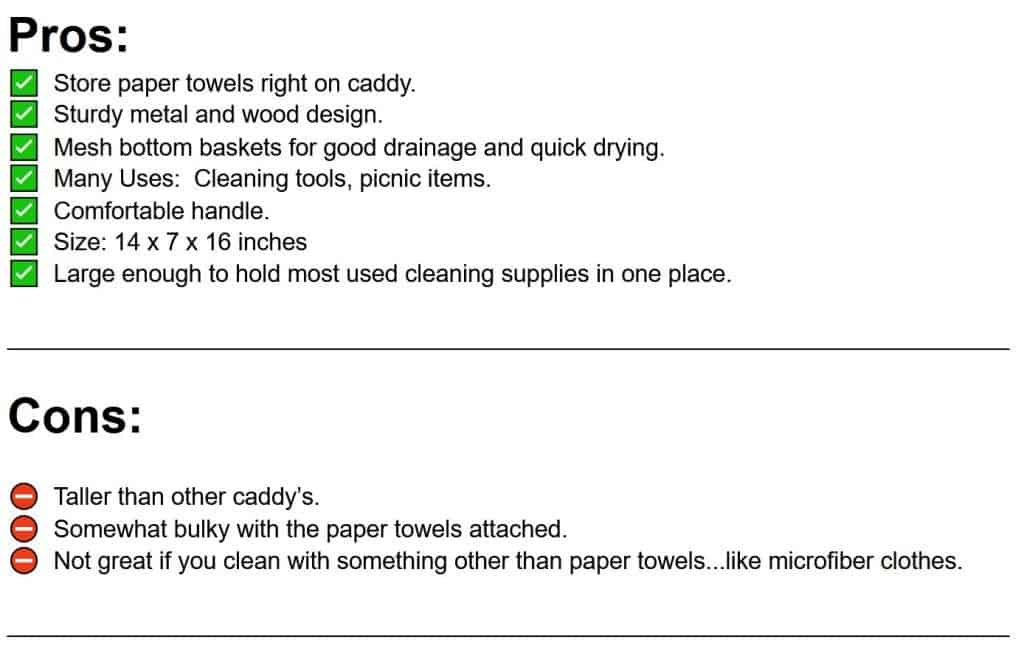 pros and cons list of cleaning caddy with paper towel holder