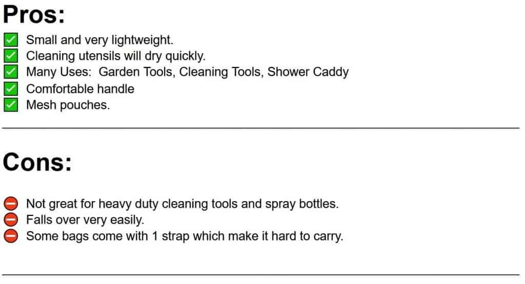 pros and cons list of mesh cleaning caddy