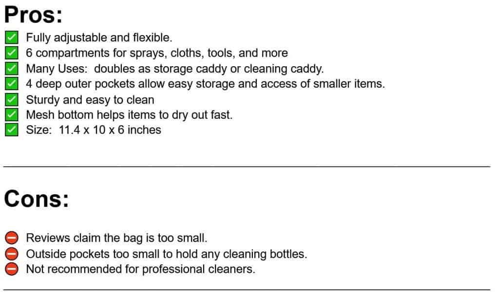 pros and cons list of hands free cleaning caddy