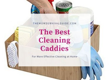 picture of a bamboo cleaning caddy with cleaning products and a hand holding it. with the title best cleaning caddies for more effective cleaning at home