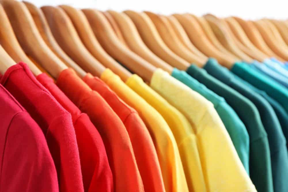 color coded clothes in closet