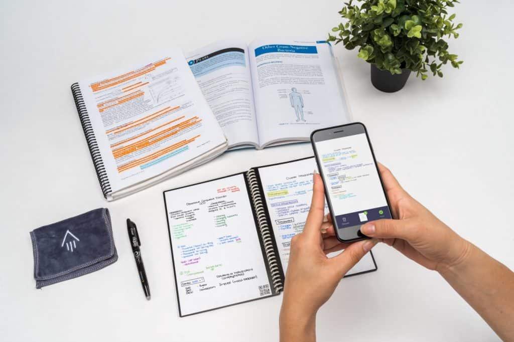 Rocketbook Erasable Notebook being scanned into app