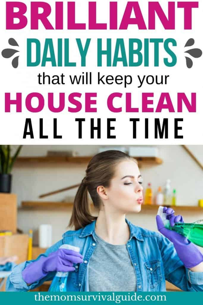 woman cleaning house with spray bottles and creating daily habits pin