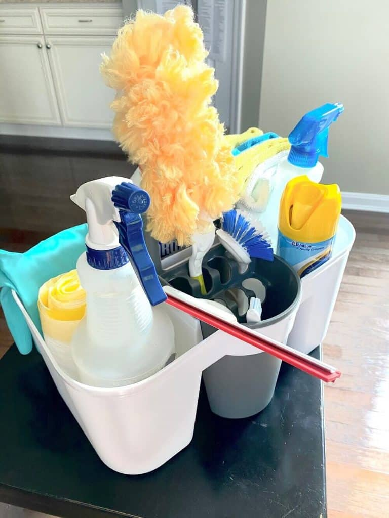 household bleach cleaning caddy