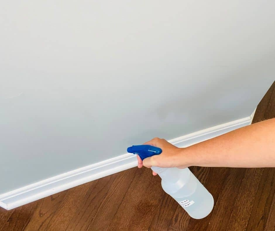 spray bottle to clean baseboards without bending over